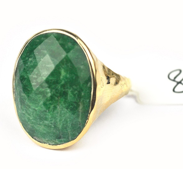Goud vergulde ring gezetmet ovale Emerald 18 mm